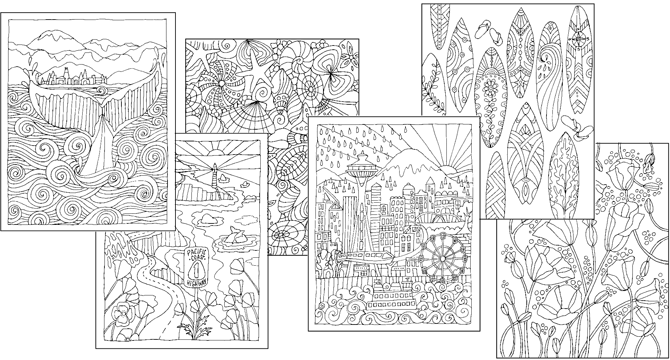 West Coast Coloring Book - Adult Coloring Pages